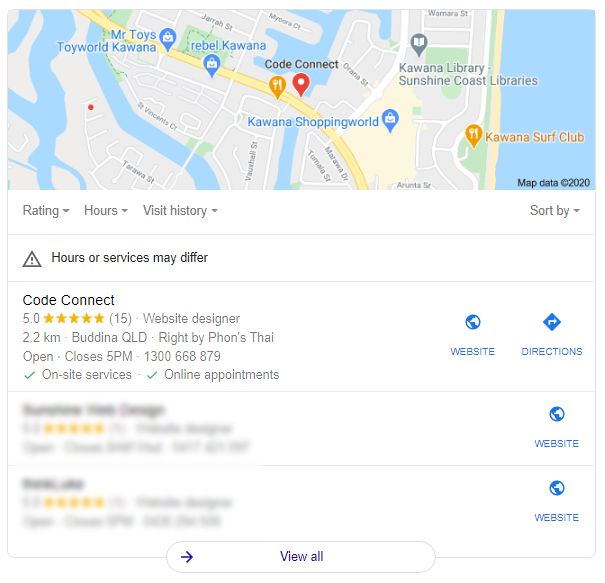 Google My Business for Web Design Sunshine Coast